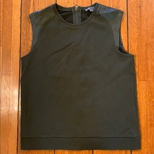 Vince   Olive Green Tank Top w/ Faux Leather